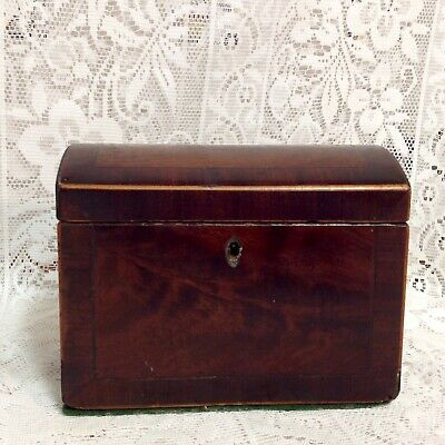 C1820. George 1V  Mahogany Tea Caddy, Dome Topped, Crossbanded Throughout