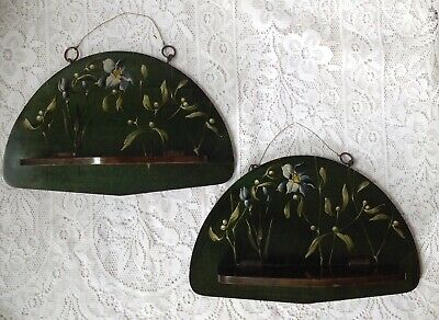 Victorian Pair of Hand Decorated Hanging Folding Wall Shelves / Lecterns.