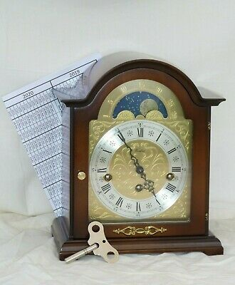 Lovely Woodford Hermle Walnut Westminster Chime Moonphase Mantle Bracket Clock