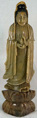 Chinese soapstone Guanyin figure holding vessel Finely Carved Statue
