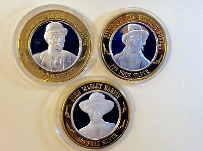 Casino $10 Gaming Token .999 Silver Strike, Gunfighters Sundance, Billy, Hardin