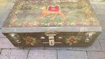 Vintage Indian hand-painted Saurashtra small 'Railway Brand' metal trunk