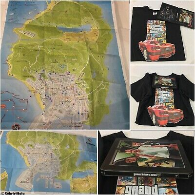 Grand Theft Auto 5 Playstation 3 PS3 Steelbook & Map / Manual & GTA V T-Shirt