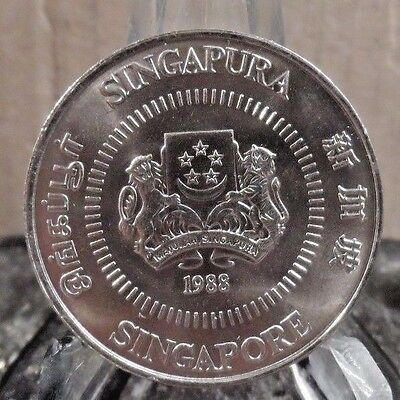 Uncirculated 1988 50 Cents Singapore Coin!! (32117)