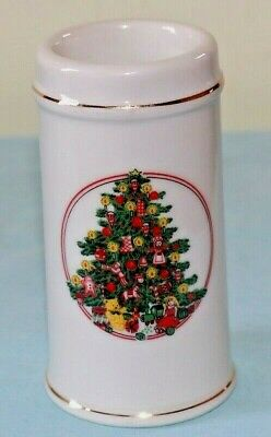 """Vintage Tall Candle Holder W/ Gold Trim Christmas Tree Made in Japan Holiday 5"""""""