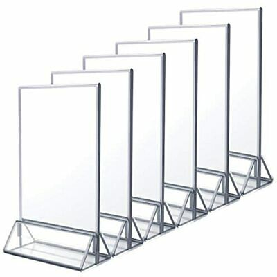 NIUBEE 6Pack 5x7 Clear Acrylic Sign Holder With Sliver Borders And Vertical Menu