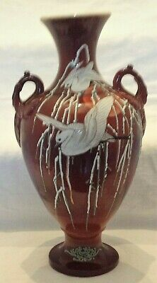 LARGE VINTAGE POTTERY VASE.. RUST RED..HANDPAINTED CRANES & BAMBOO 38cms