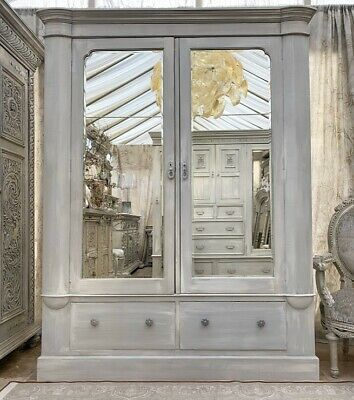 Edwardian Wardrobe Two Mirrored Doors