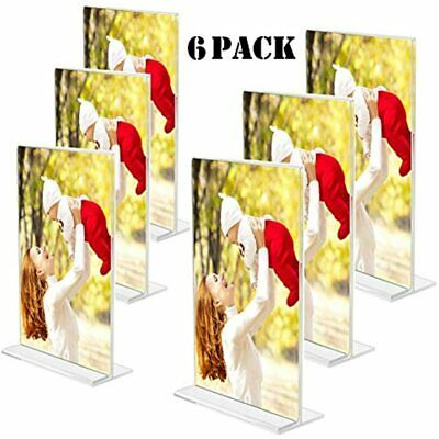 Sooyee 6 Pack 8.5 X 11 Acrylic Sign Holder, Ad Frame Double Sided, Menu Card T