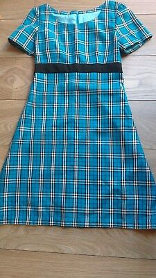 Handmade turquoise 1960s style tartan emo gothic dress. Fit 10, 34B? Silk lined