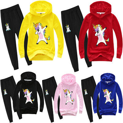 Kid Boys Girls Top Hoodies Sweatshirt Hooded Pullover Outfit T-shirt Clothes Set
