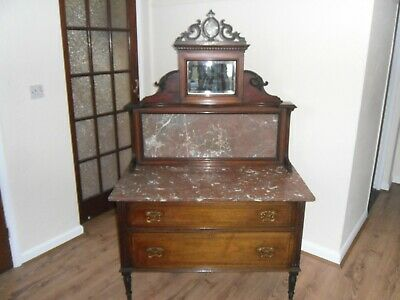Antique Wash Stand with Marble Top and Mirror