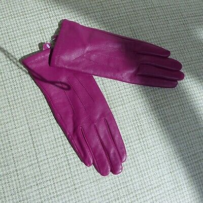 Marks & Spencer, 100% Leather Gloves, Pink/Purple, Medium, Brand New. Ideal Gift