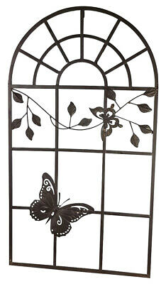 Nostalgia window metal frame butterfly antique style brown 97cm