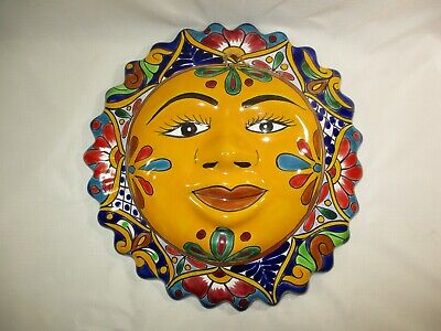 Hand Painted Mexican Talavera Sun Colorful Folk Art Wall Hanging Decor