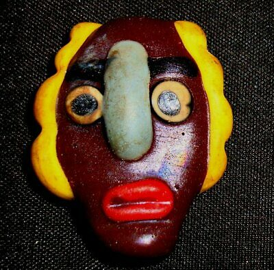 Phoenician Mosaic Red Lip Brown Face Curly Yellow Hair Glass Bead Pendant 724