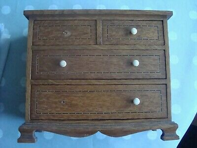 Antique Oak Inlaid Edwardian Apprentice Piece Chest Of Drawers, Scarce Example