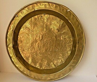 "Elephant / Fish Plate Dish Tray Large 17.5"" Vintage / Antique Brass Metal"