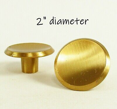 Pair Vintage Copper Knobs Concave Beveled Dish 1950s Mid Century Cabinet Pulls