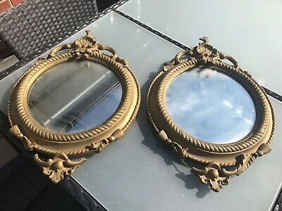 Matching Pair Of Old Gold Colour Round Mirrors For Restoration
