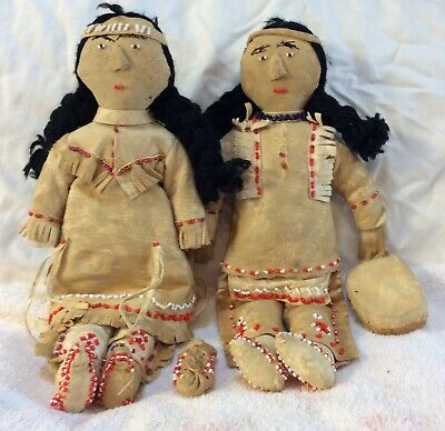 Deerskin and Beadwork  Father, Mother and Baby Handmade Antique America's