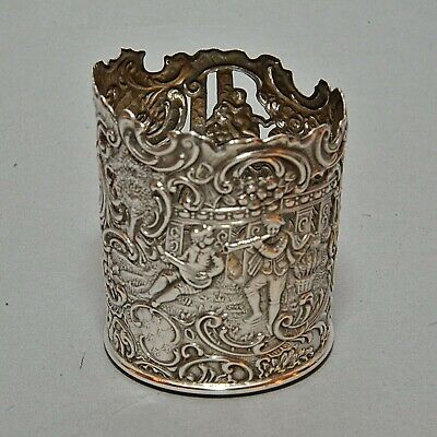 Antique Continental Ornate Repousse Silver Glass Cup Holder - Scene w/ Figures
