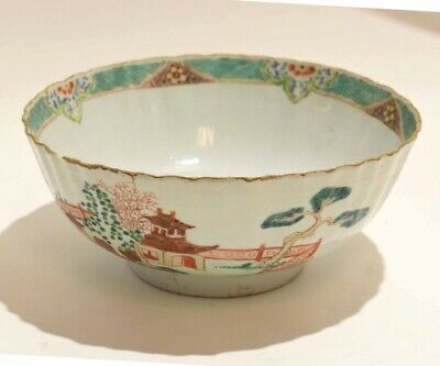 18th C Chinese porcelain fluted Punch Bowl Qing dynasty famille rose vert