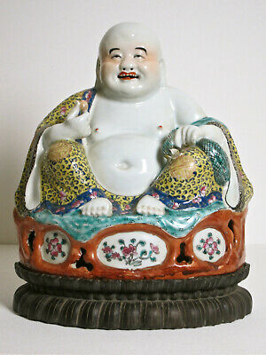 "Rare Form Chinese Famille Rose Jaune Porcelain 12"" Buddha Statue late 1800's"