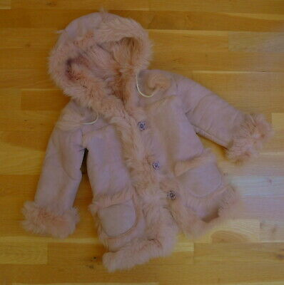 Girls' Real Leather Lambskin Fur Lined Coat (Sheepskin) w/ Silver Shimmer, Age 2