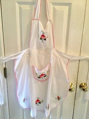 Vintage Hand Embroidered Floral Bib Apron With Pocket Euc