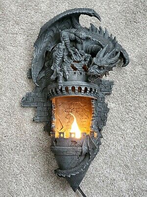 Design Toscano - Dragon's Castle Lair Illumimated Wall Sconce Light New
