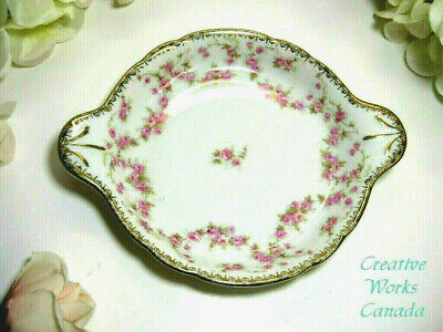 """MZ Altrohlau CMR Czechoslovakia Bridal Rose 7.5"""" by 6"""" Serving Tray Pink Roses"""