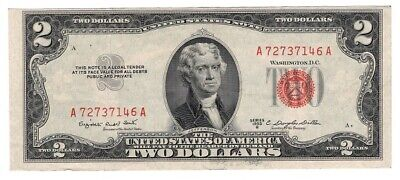 ✯ 1953 Two Dollar Note Red Seal ✯$2 Bill ✯US CURRENCY✯OLD MONEY✯ VG or Better
