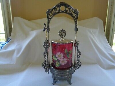 Antique Victorian Cranberry Glass Hand Painted Pickle Castor w/SP Stand & Tongs!