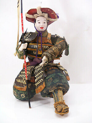 Large Antique Meiji Period Japanese Musha Samurai Flag Bearer Warrior Doll