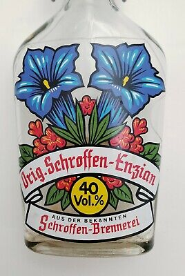 Vintage Art Deco Flowers Schroffen Alcohol Advertising Bottle from Austria