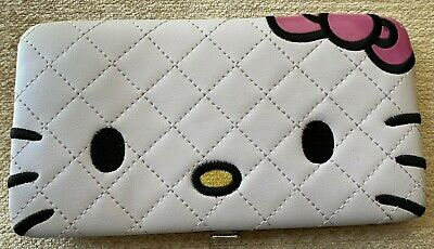 "Hello Kitty Face Quilted Vinyl Wallet -Loungefly- White- Snap Clasp - 4"" x 7.25"""