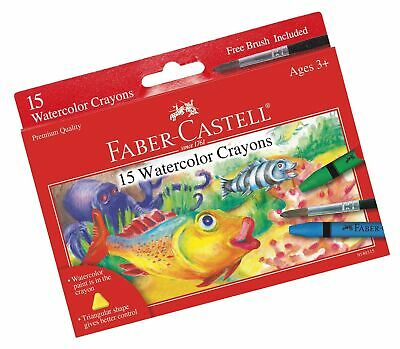 Faber-Castell Watercolor Crayons with Brush, 15 Colors - Premium Quality Art ...