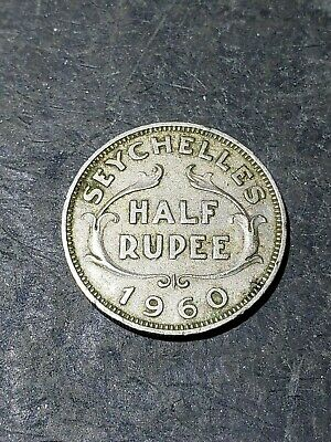 1960 Seychelles Half Rupee Queen Elizabeth Second Coin #004