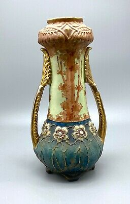 "11"" Jeweled Flowers and Trees Art Nouveau Amphora Vase"