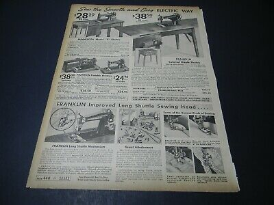 1937 Franklin or Minnesota Sewing Machine Sears Catalog Page Print Ad 5H2F