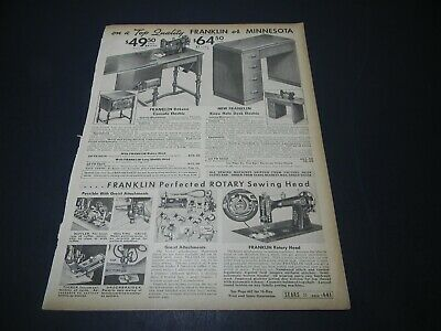 1937 Franklin or Minnesota Foot Powered Sewing Sears Catalog Page Print Ad 5H2F