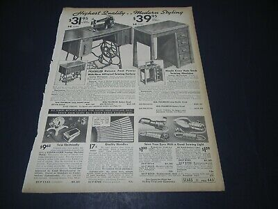 1937 Franklin Foot Power Sewing Machine Sears Catalog Page Print Ad 5H2F