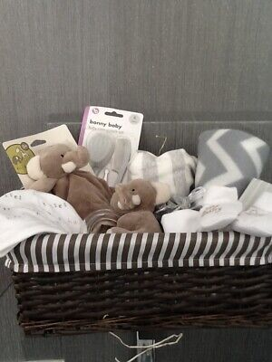Boy Girl Neutral Baby Clothes Shower Gift Set Hamper Basket Nappy Cake