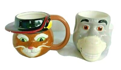 Donkey & Puss In Boots 3D Face Coffee Mugs Cups 2004 Shrek Dreamworks Galerie