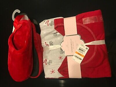 NWT Charter Club Red LongSleeve Sleepwear Size S Pajama 3PC Set & Large Slippers