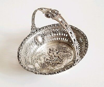 Antique German Repousse Silver Basket