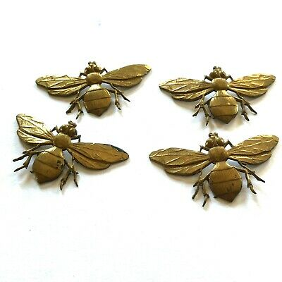 Vintage brass wasp bee insect metal decorations ormolu x4