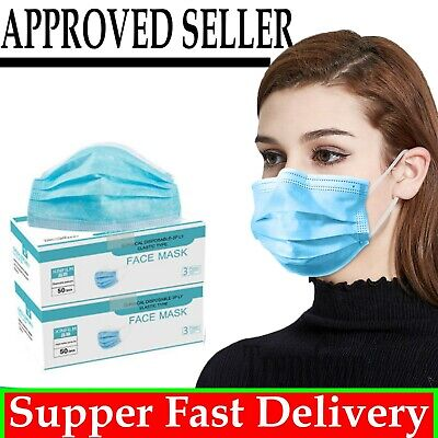 1/5/10/20/50 Surgical Face Mask Disposable Mouth Masks Anti Bacterial 3 Ply