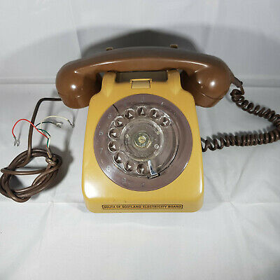 Brown Beige Vintage Retro Telephone Rotary Dial Collectable Rare Chrome Handle